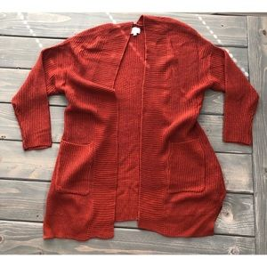Plus size 1X Rust colored Knit Cardigan